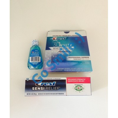 Crest 3D White Whitestrips with Advanced Seal Professional Supreme+ Зубная паста Crest Sensi Relief Scope+ ополаскиватель